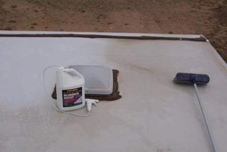 cleaning a rubber roof