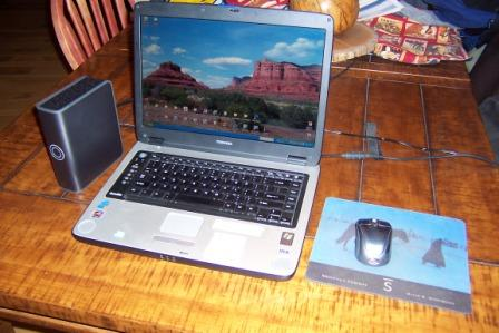 external hard drive and laptop
