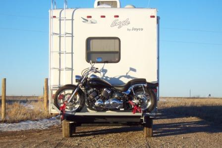 A Custom Motorcycle Carrier on our Fifth Wheel