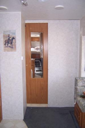 RV door mounted closed