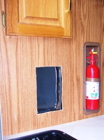 RV litterbox compartment door