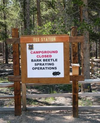 Beetle Spraying - Campground Closed Sign