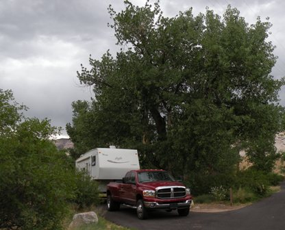 Camped in the Cottonwoods at Dinosaur Nat Mon