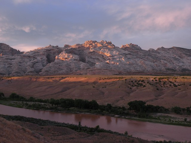 Looking across the Green River at sunset in Dinosaur Nat Mon