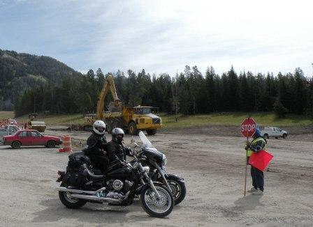 Waiting on road construction on Togwotee Pass