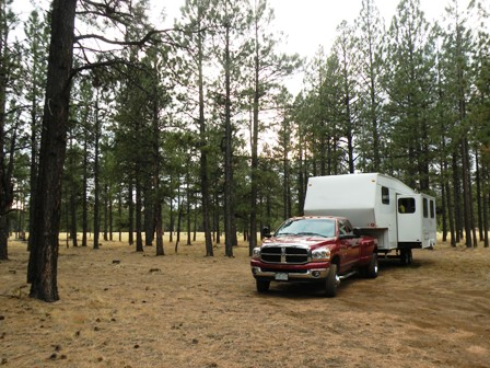 RV Boondocking camp off Hwy 180 north of Flagstaff
