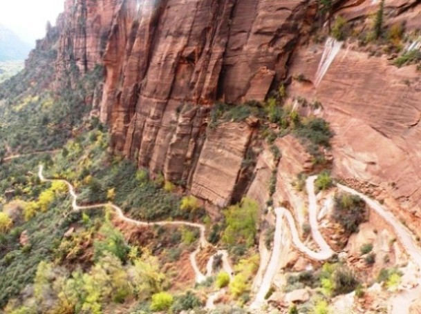 looking back down at the first climb to Angels Landing