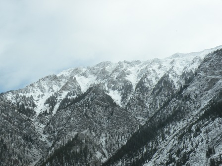 Snow in the mountains around Vail