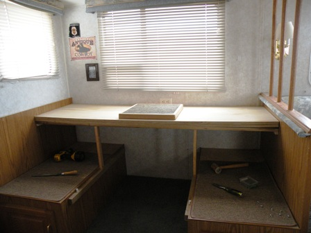 New RV Desk Top Surface in place