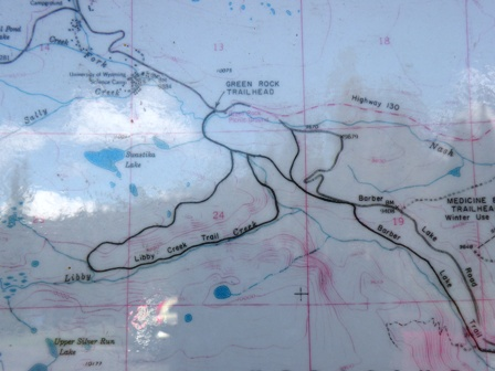 Trail map of Libby Creek loop Snowy Range Wyoming