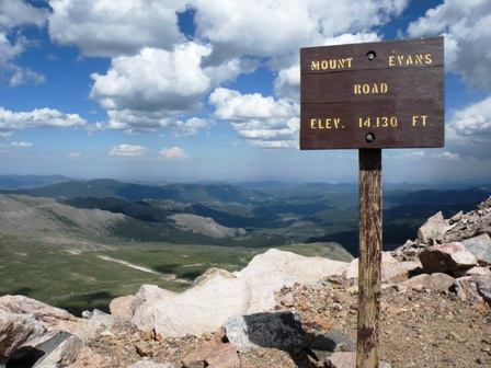 Mt Evans Road altitude sign