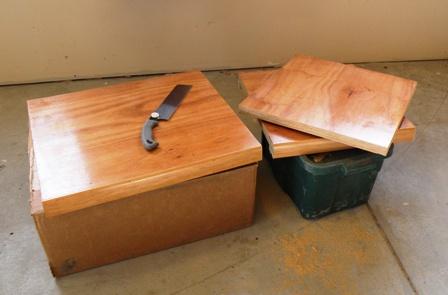 RV Desk cut into pieces