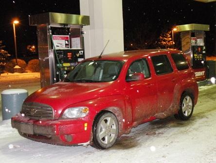 Chevrolet HHR on a Slippery, Snowy Night