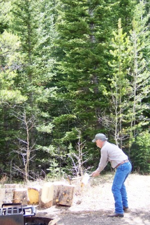 Splitting wood in the Medicine Bow National Forest