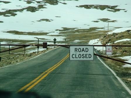 Rocky Mountain Nat. Park Road Closed  sign