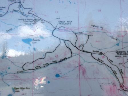 Trail map of Libby Creek loop Snowy Range Wyoming