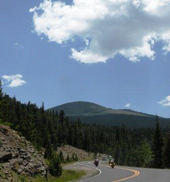 Motorcycles in the twisties on Mt Evans